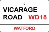 Watford / Vicarage Road Street Sign