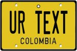 Personalised Colombia License Plate